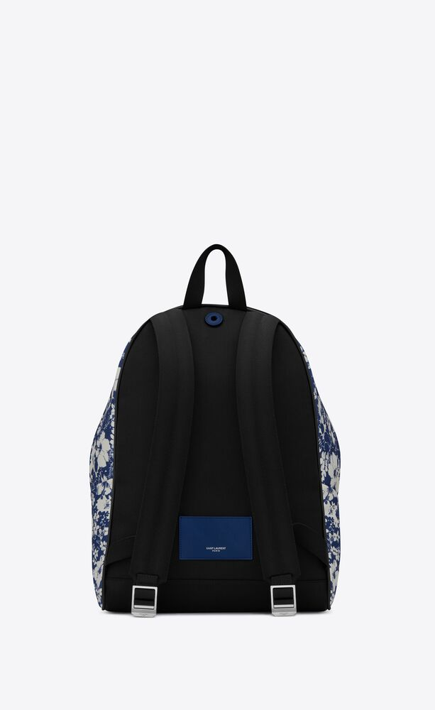 city backpack in hibiscus-print canvas