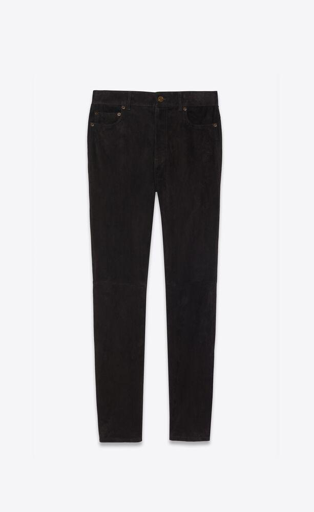 pantalon skinny taille haute en suède stretch