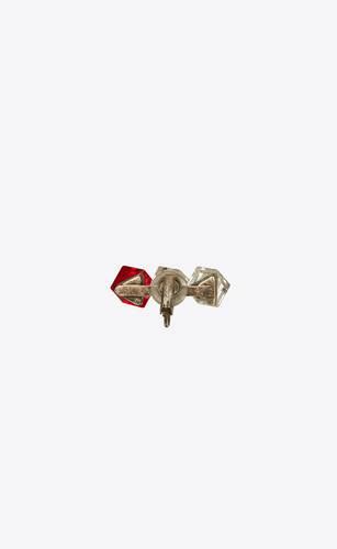 smoking bijou d'oreille en métal à triple cube en cristal