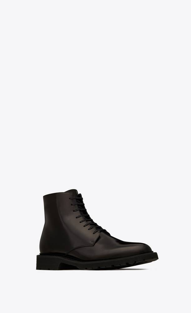 army laced boots in smooth leather