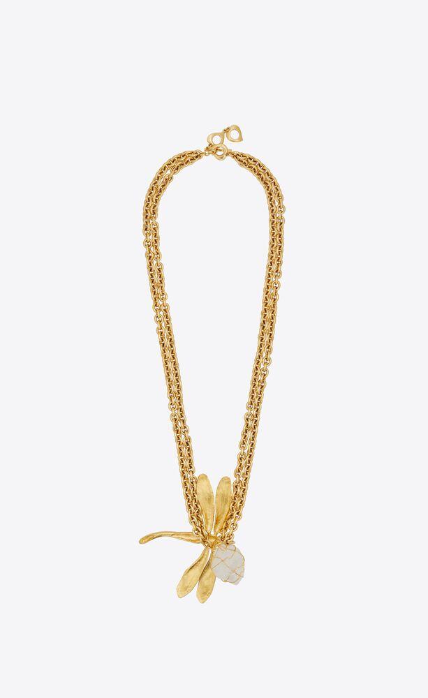 collier à pendentif libellule en métal