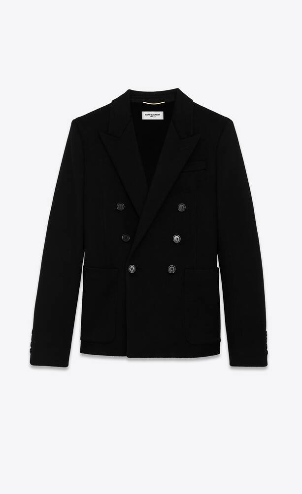 double-breasted long jacket in wool and cashmere flannel