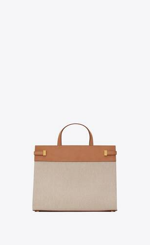 manhattan small shopping bag in cotton canvas and vintage leather