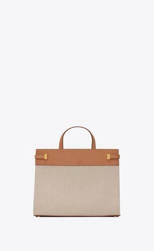 manhattan small shopping en toile de coton et cuir vintage