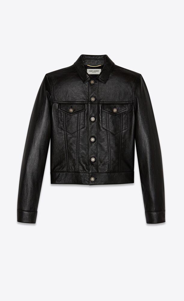 denim jacket in shiny lambskin