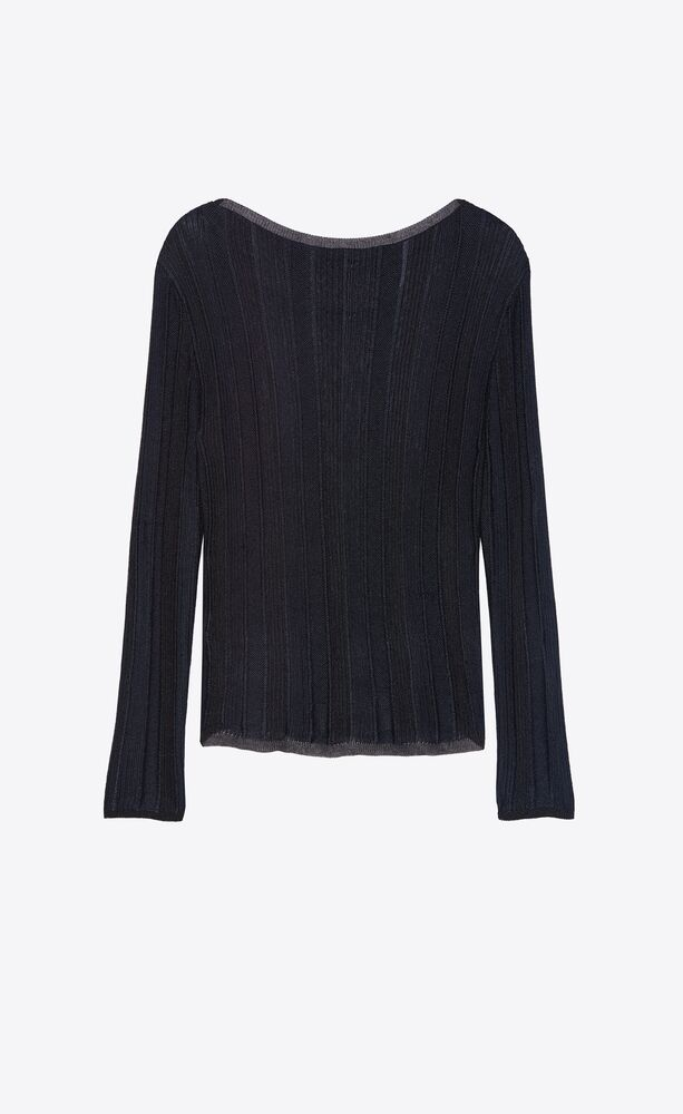 wide-neck sweater in striped lamé knit