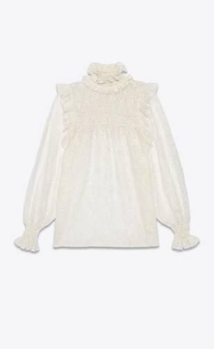 blouse babydoll smockée en dentelle camélia