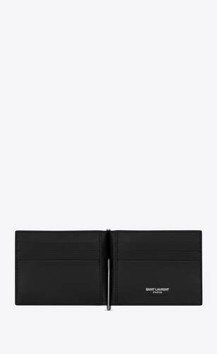 tiny monogram bill clip wallet in matte leather