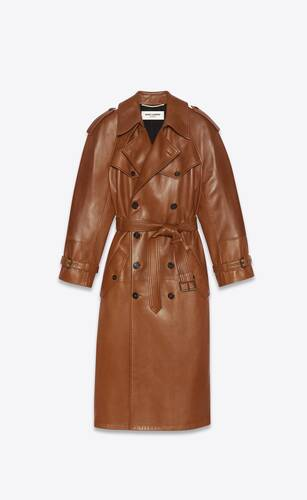 long double-breasted trench coat in plunged lambskin