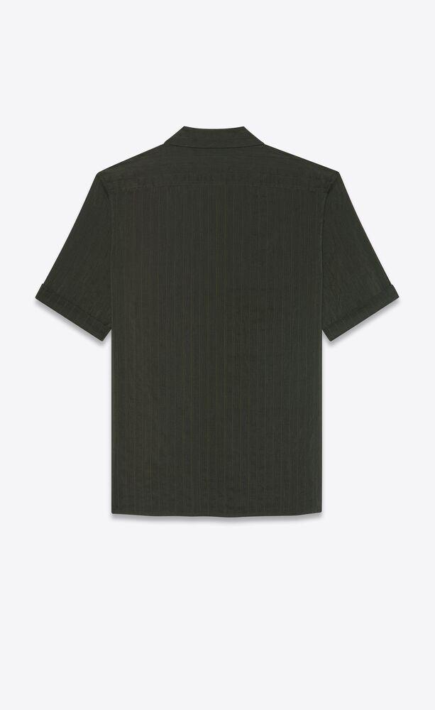 shawl-collar shirt in striped cotton and silk