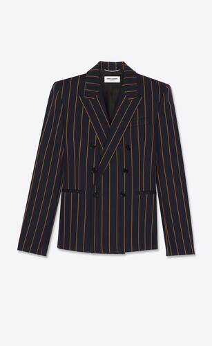 double-breasted short tailored jacket in striped wool serge