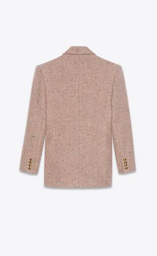 veste à double boutonnage en tweed de laine mélangé