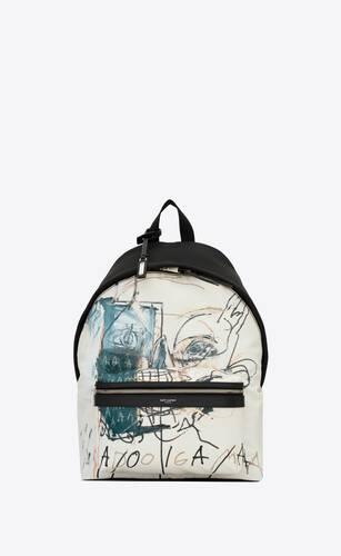 city sac à dos en toile de nylon et cuir jean-michel basquiat