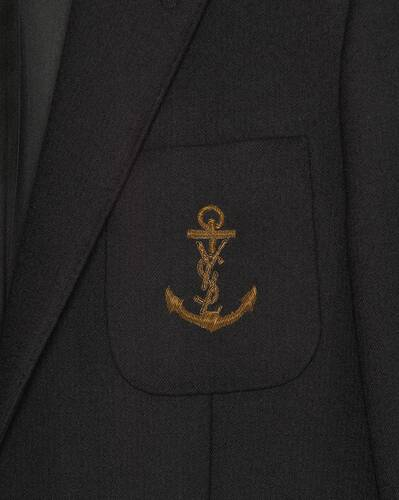 embroidered monogram anchor jacket in wool felt