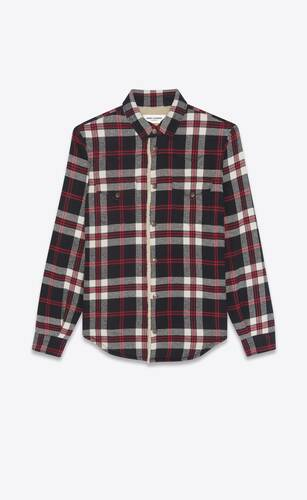 oversized western shirt in checked vintage blend cotton and shearling