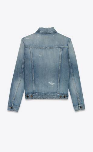 destroyed jacket in sky blue denim