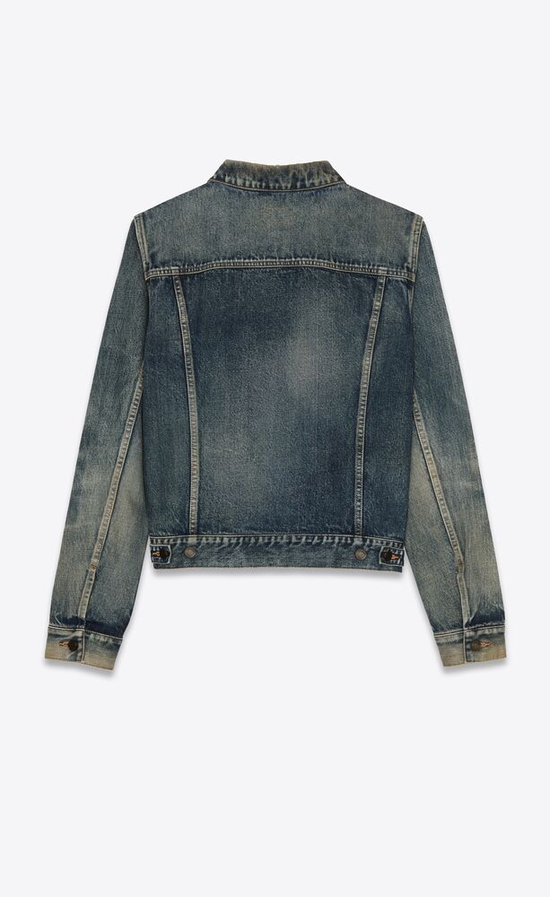 fitted jacket in dirty sandy blue denim