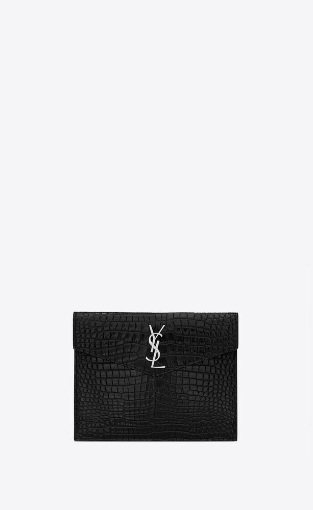uptown baby pouch in shiny crocodile-embossed leather