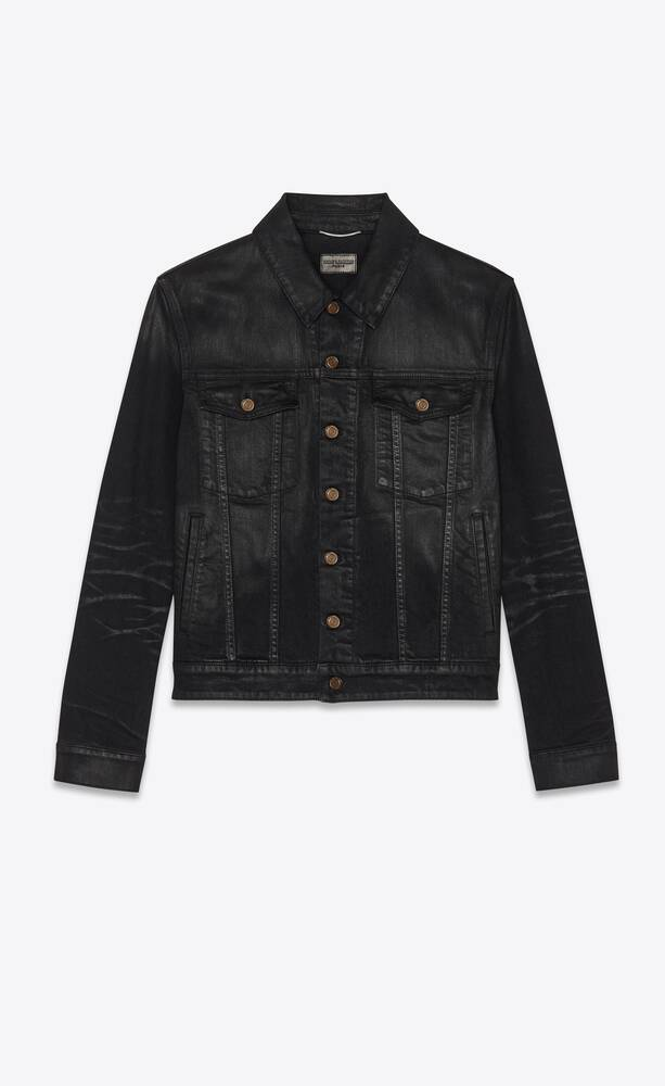 jacket in lightly coated black stretch denim