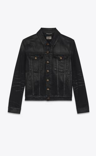 veste en denim stretch noir enduit