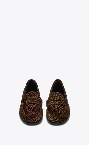 le loafer monogram mocassins en cuir effet poney à imprimé léopard
