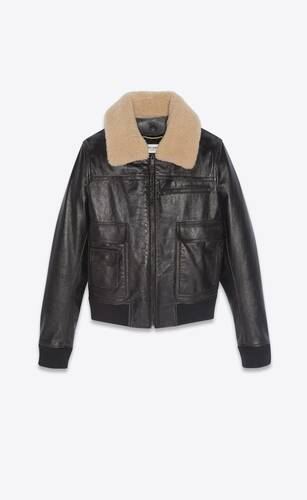 aviator jacket in aged leather with shearling collar