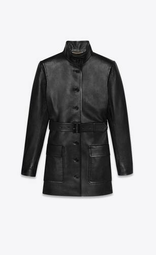 long belted jacket in lambskin