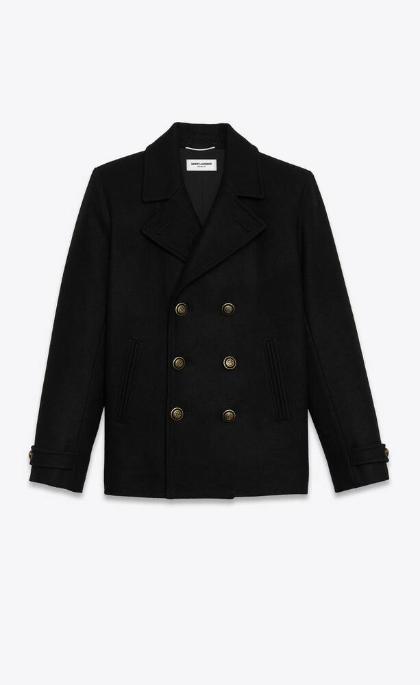 double-breasted peacoat in sablé wool felt