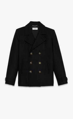 chaquetón con doble botonadura de fieltro de lana sablé