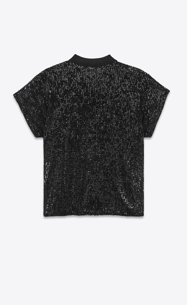 all-over sequined boxy polo shirt