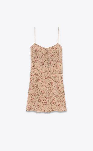 vestido sin mangas de crepé de seda china con motivo floral