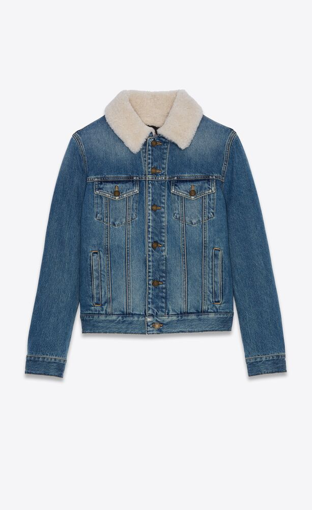 boyfriend jacket in used '70s blue denim and shearling