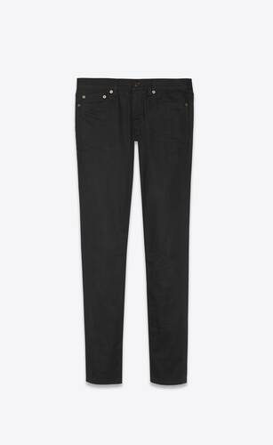 low-rise jeans in used black denim