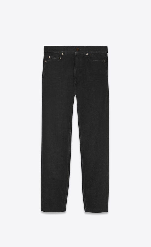 carrot-fit jeans in used black denim