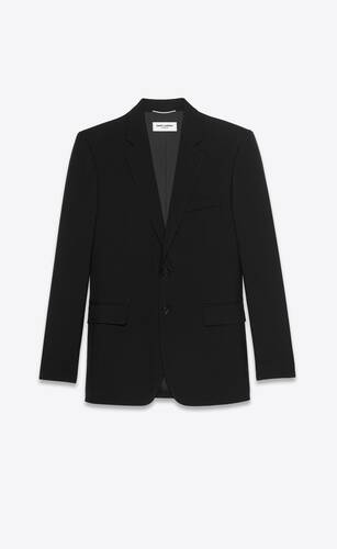 chaqueta larga con botonadura simple de gabardina saint laurent