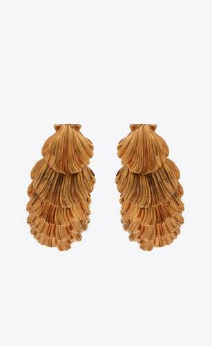 cascading seashell earrings in metal