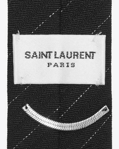 narrow pinstripe tie in lamé wool