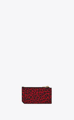 fragments zipped card case in leopard-print leather