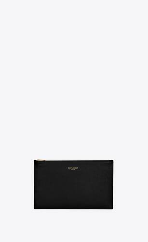 pochette small saint laurent paris en cuir brillant