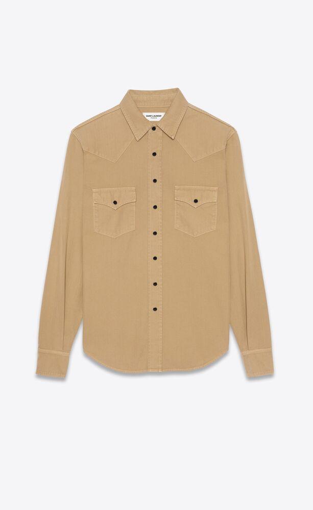 western shirt in beige stonewashed denim