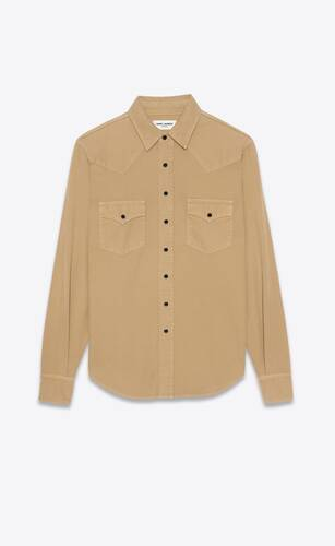 western shirt in beige stonewashed denim