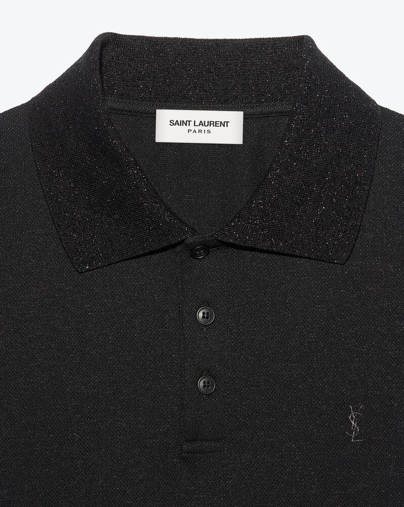 monogram polo shirt in lamé piqué jersey