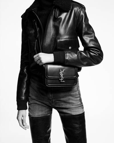 solferino small satchel in box saint laurent leather