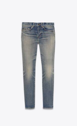 skinny-fit jeans in dirty old vintage blue denim