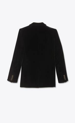 square-cut long jacket in shadow striped velvet