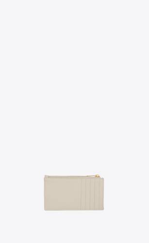 monogram fragments zippered card case in grain de poudre embossed leather
