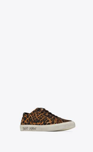 malibu sneakers in leopard-print canvas and leather