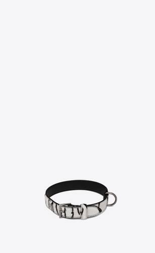 dog collar in ponyskin-look leather with a zebra print