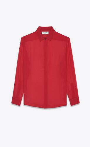 yves collar classic shirt in striped silk georgette