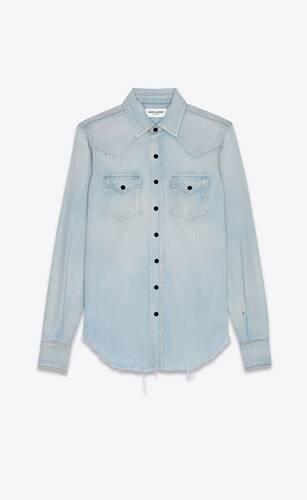 camisa clásica estilo western de denim azul celeste efecto sucio destrozado